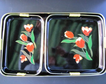 Three Piece Lacquer Tray Set Lacquerware Tray Set