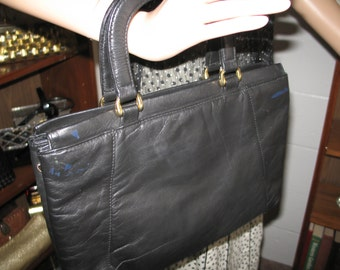 FREE SHIPPING! Nav 1-8***1980's black leather briefcase style purse/handbag-Cuter Than Crap!