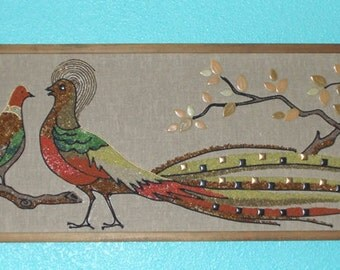 Mid Century Gravel Art  Vintage 1958 Half-Framed Birds