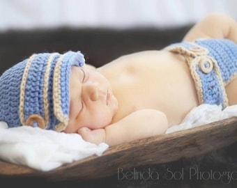 Pageboy Cap and Diaper Cover, Crochet Pageboy Hat, Crochet Diaper Cover, Newsboy Hat, Brimed Hat, Baby Boy Photo Props, Handmade Baby Gift