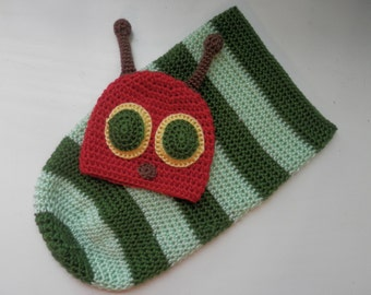 Caterpillar Hat and Body Cocoon, Crochet Caterpillar Photo Prop, Handmade Baby Caterpillar Costume, Crochet Caterpillar Hat and Swaddle