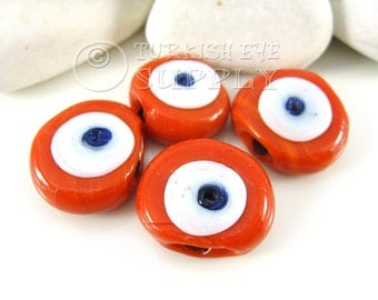 4 pc 26mm Tomato Orange Glass Evil Eye, Handmade Glass Bead, Artisan Handmade Glass Evil Eye Beads, Protective Turkish Glass Beads