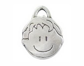 6 Silver Boy Charm Pendant 21x16mm by TIJC SP0384