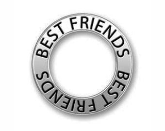 5 Silver Affirmation Ring Best Friends Charm Pendant or Bracelet Connector 22mm by TIJC SP0730