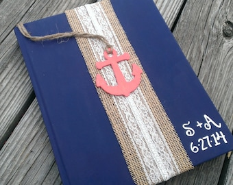 Personalized beach wedding guest book, nautical wedding book, sea side wedding anchor wedding decor