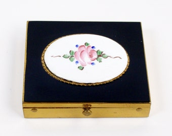 Vintage Rex Fifth Avenue Powder Compact with Mirror 1950's Hand Painted Rose