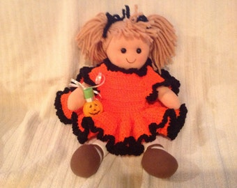 14 inch Cotton rag doll with handmade crocheted Halloween dress orange with black trim