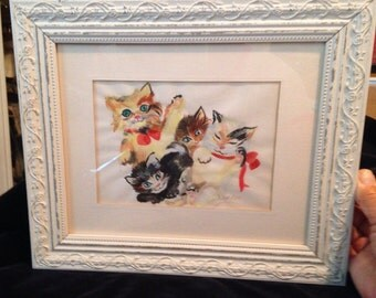 Vintage Watercolor Kittens