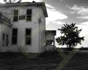 Abandoned Vandalized Home Black & White Photograph Print
