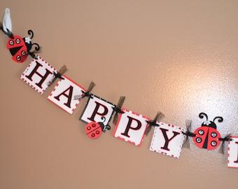 Ladybug Sparkle Happy Birthday Banner - Birthday Party