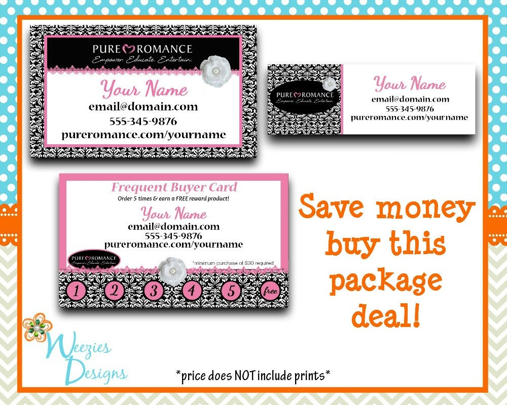 Pure romance business package business card direct sales for Pure romance business cards