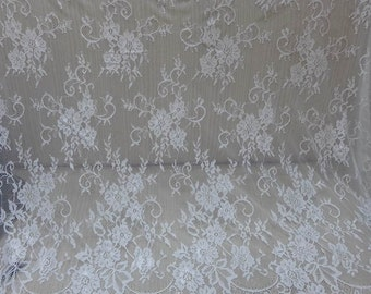 WHITE Floral Lace Fabric, Chantilly Fabric, Scalloped Eyelash Lace Trim, White Bridal Wedding Gown Fabric