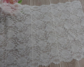 Wide Stretch Lace in Off white with Roses design for Headbands, Lingerie, Costume designs