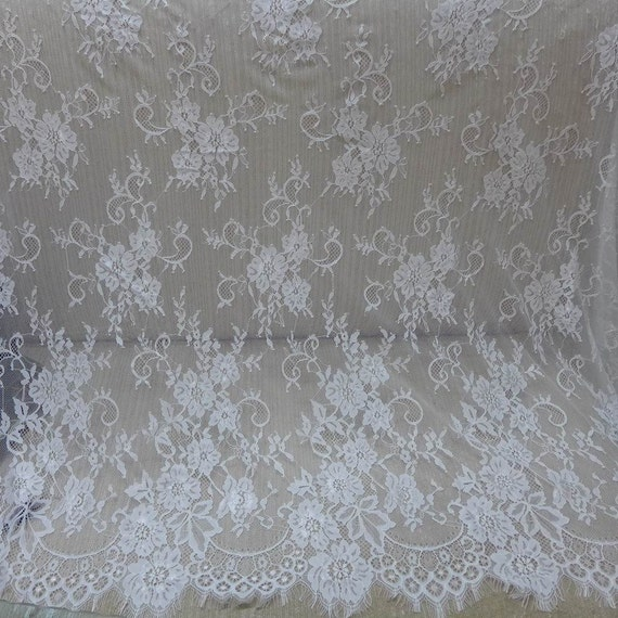 White Floral Lace Fabric Chantilly Fabric Scalloped Eyelash