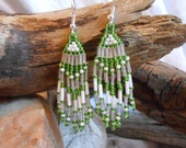 Beautiful, Hand Beaded Earrings, Green and White, Handmade Brickstitch Earrings, Fringe Earrings, Native Ameican Inspired, St. Patricks Day - FaerieTeaAndTreasure