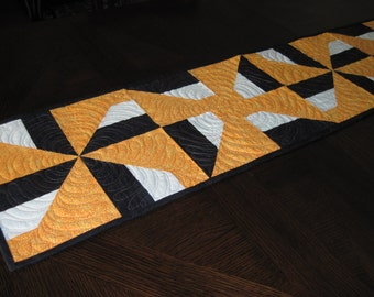 """Modern Halloween """"Pinwheels"""" and """"Candy Corn"""" Quilted Table Runner - orange, black, and white abstract"""