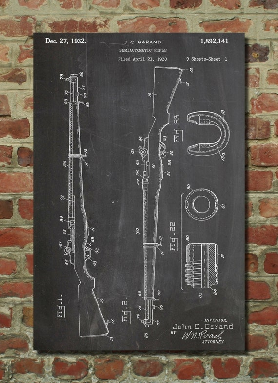 Man Cave Gun Decor : M rifle patent poster gun lovers man cave by