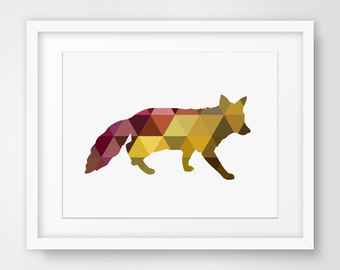 Red Fox, Yellow Fox, Geometric Fox, Geometric Animals, Yellow Print Art, Red Fox Art, Yellow Fox Print, Geometric Animal Art