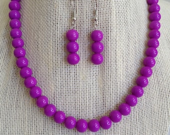 Purple Necklace, Purple Wedding Jewelry, Purple Beaded Necklace, Purple Jewelry, Purple Bridesmaid Jewelry, Bridesmaid Gift