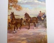 """The Hackney, Vintage Horse Illustration, Children's Book Color Plate, 8-7/8"""" x 10-7/8"""", To Frame"""