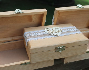 Bridesmaid Gift Set of 3 Rustic Wood Box With Attached Heart With The Name Of Your Bridesmaid Wood Burned On & Felt Lined Bottom