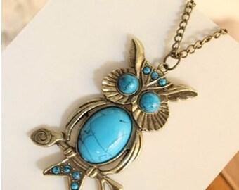 Turquoise Owl Necklace, necklace, owl necklace, turquoise necklace, owl