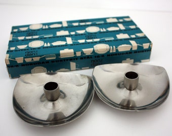 A Boxed Set of Two Vintage Danish Stainless Steel Candleholders