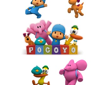 Pocoyo Logo and 4 Piece Set of Removable Wall Stickers with Pocoyo, Elly, Loula, and Pato