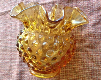 Fenton Amber Hobnail Glass Bowl 4.5 incheds