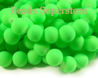10mm Fluorescent Neon Green Glass Round Bead - 20pcs