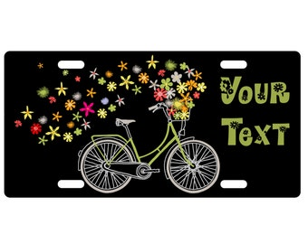 Custom, personalized standard size license plate - Bicycle 1 - add your text