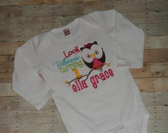 Owl Birthday Shirt Infant Baby Toddler girls custom applique 12 18 24 months 2t 3t 4t 5t