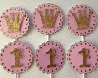 Pink and gold princess themed cupcake toppers