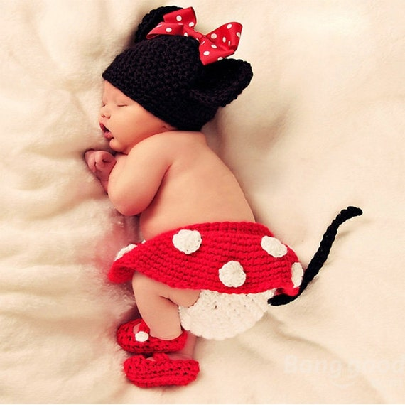 Newborn Baby Girl Crochet Mini Mouse, Hat, Diaper Cover, Booties Photo Prop