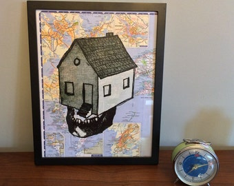 Screenprint poster of house with skull jaw floating on atlas, 11 x 14 inches