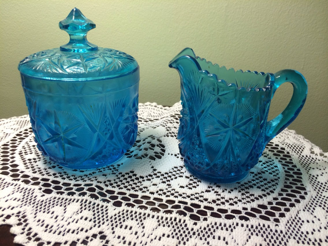 Vintage Wheatonware Hand Pressed Glass Blue Creamer And