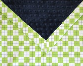 Boutique Quality Large Toddler Boy Minky Blanket - Ann Kelle Remix Lime Green and Navy Argyle - Navy Minky - Ready to Ship