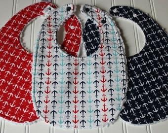 Nautical Baby Bib, Toddler Bib - Triple Layer Chenille Bib, Adjustable Bib Size from Infant to Toddler, Boutique Quality Bib