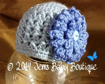 Adorable light Blue Crochet Baby Girl Hat with large flower,  Baby Girl  Hat with Flower,  Photo Prop Beanie