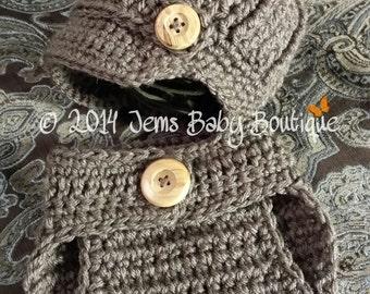 Preemie Crochet Diaper Cover and Newsboy hat w/ visor SET, Baby Boy SET, Photo Prop Set,