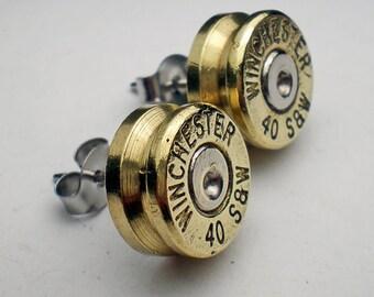 40 S&W Winchester Brass Bullet Head Stud Post Earrings Bullet Jewelry Steampunk