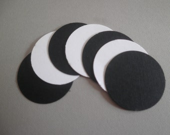 """100 Black and white circles 1"""" die cuts perfect for confetti, scrapbooking, cards,wishing tree,weddings"""