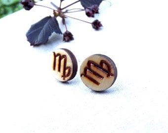 Horoscope zodiac earrings, Zodiac stud, Horoscope jewelry, Wood jewelry, Zodiac jewelry, Horoscope earrings, Virgo stud