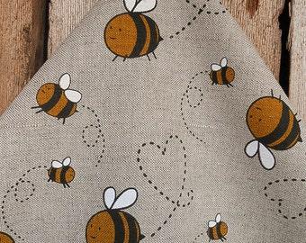 Bee Towel Linen Bumble Honey Gift Heart Hand Kitchen Dish