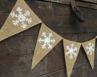 Snowflakes Banner Holiday Decor Snowflakes Garland Christmas Decor Christmas Banner Christmas Garland Holiday Banner Christmas Bunting