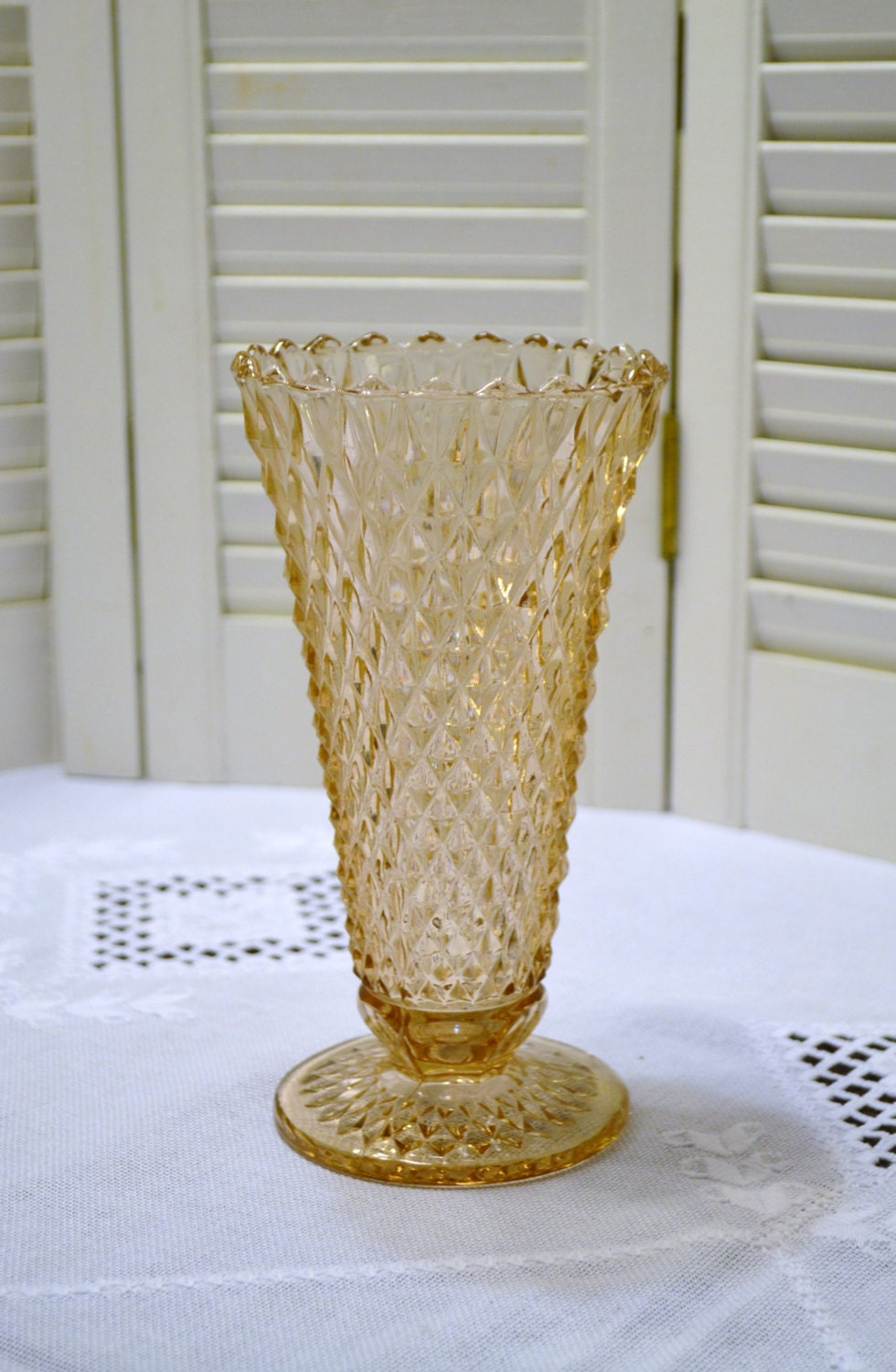 Vintage Pink Depression Glass Trumpet Vase Diamond Pattern