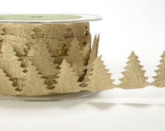 Gold Glitter Christmas Tree Ribbon for party supplies, wedding supplies, scrapbook, card making, embellishment