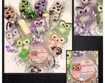 Owl chocolate lollipops- owl theme baby shower Favors