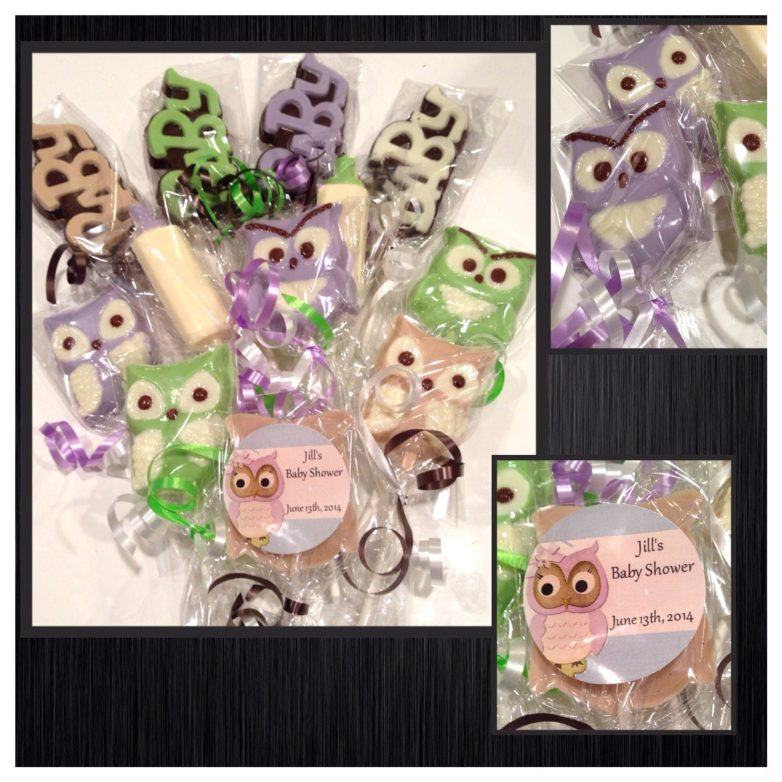 owl chocolate lollipops owl theme baby shower by sparklesbaby