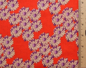Tina Givens fabric TG19 Violet orange ZaZu petals daisies floral Free Spirit cotton fabric sewing quilting 100% Cotton fabric by the yard
